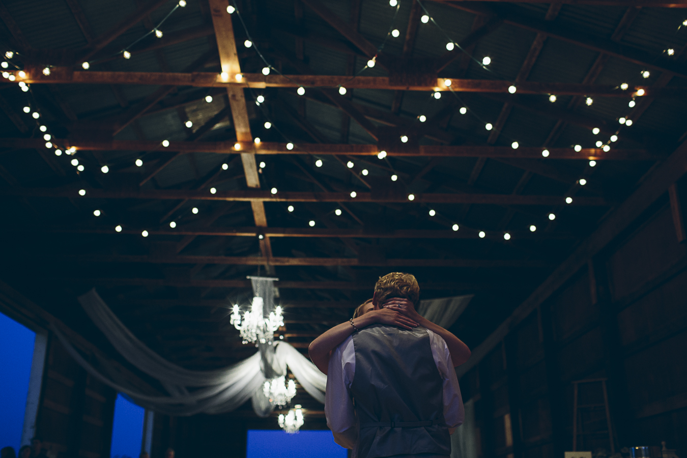first dance at wedding in barn