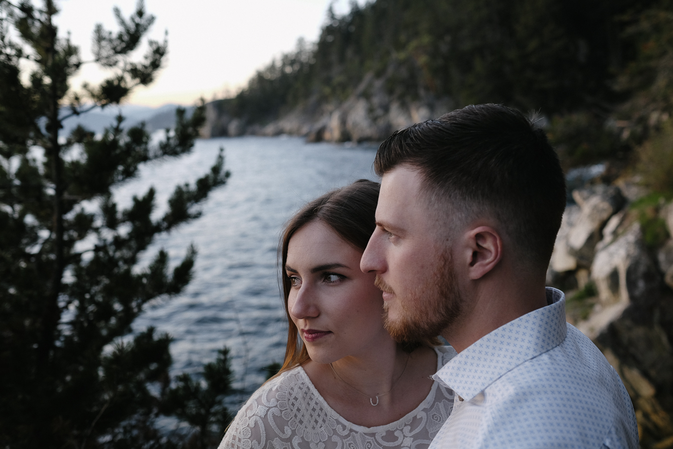portrait of engaged couple. British Columbia Canada