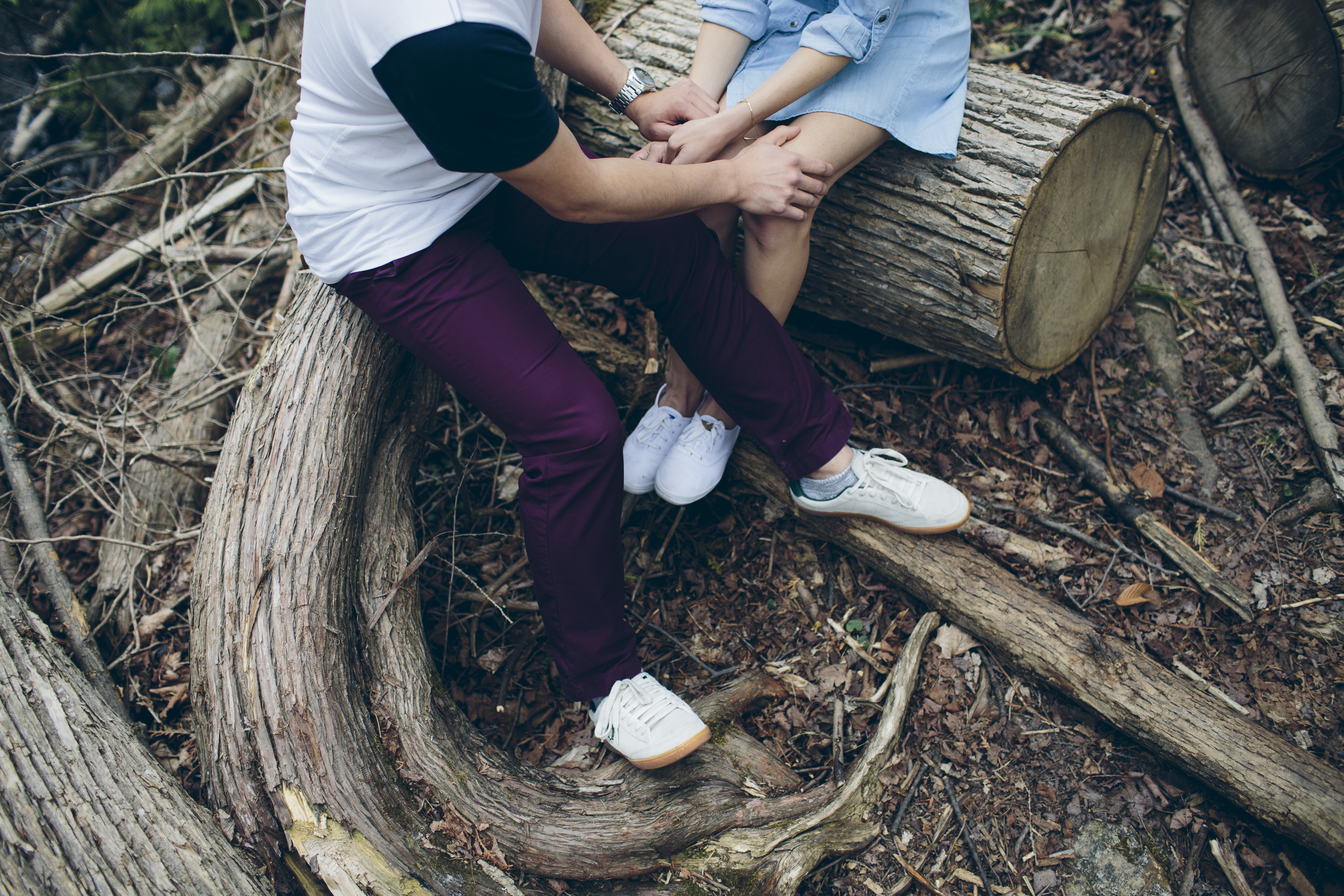 Engaged couple in the forest
