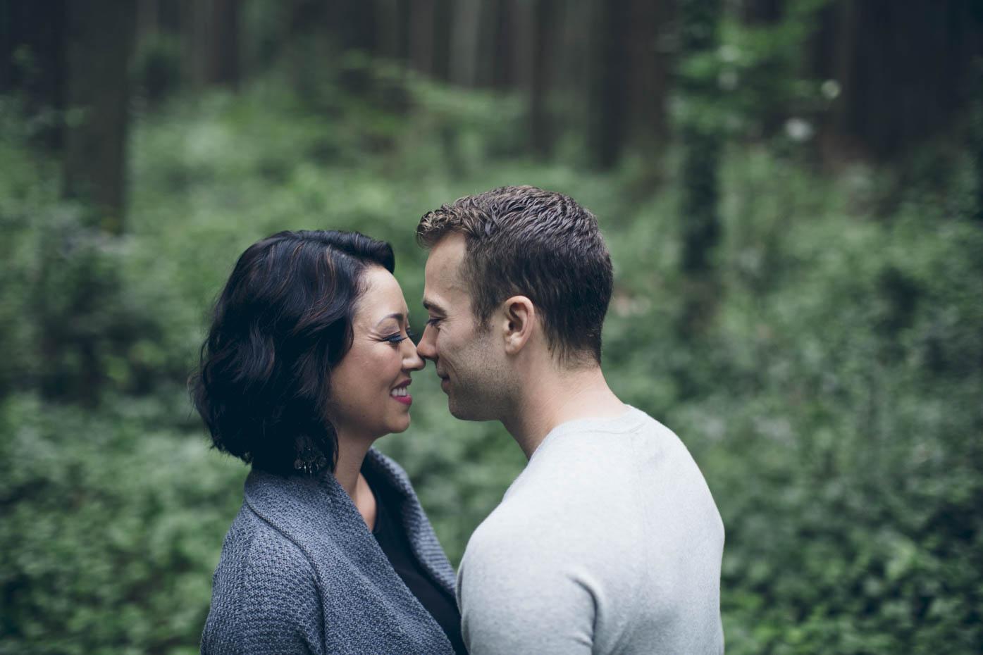 Close up portrait of engaged couple