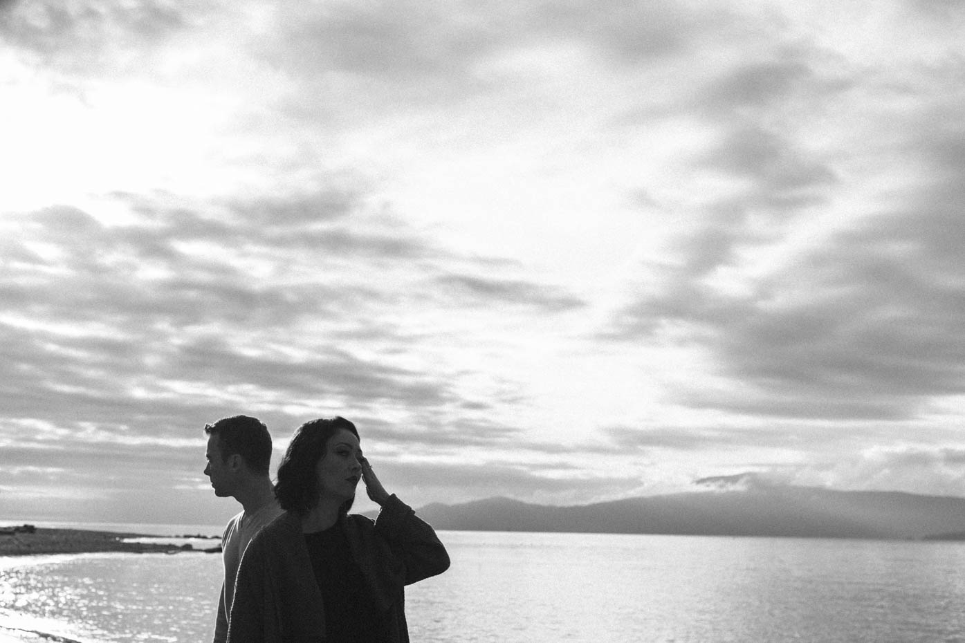 Black and White Portrait Engaged Couples session Vancouver