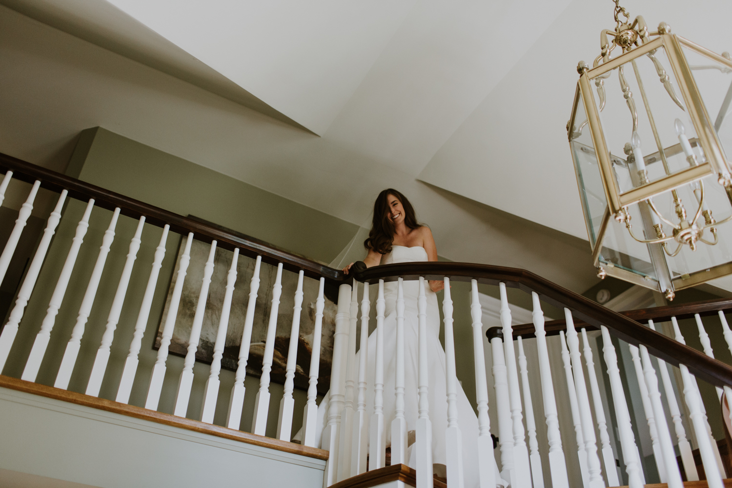 Bride at top of staircase