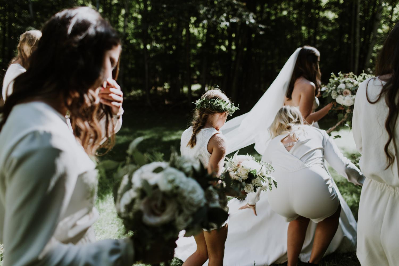 Bridal party. Huntsville Summer camp wedding photographer