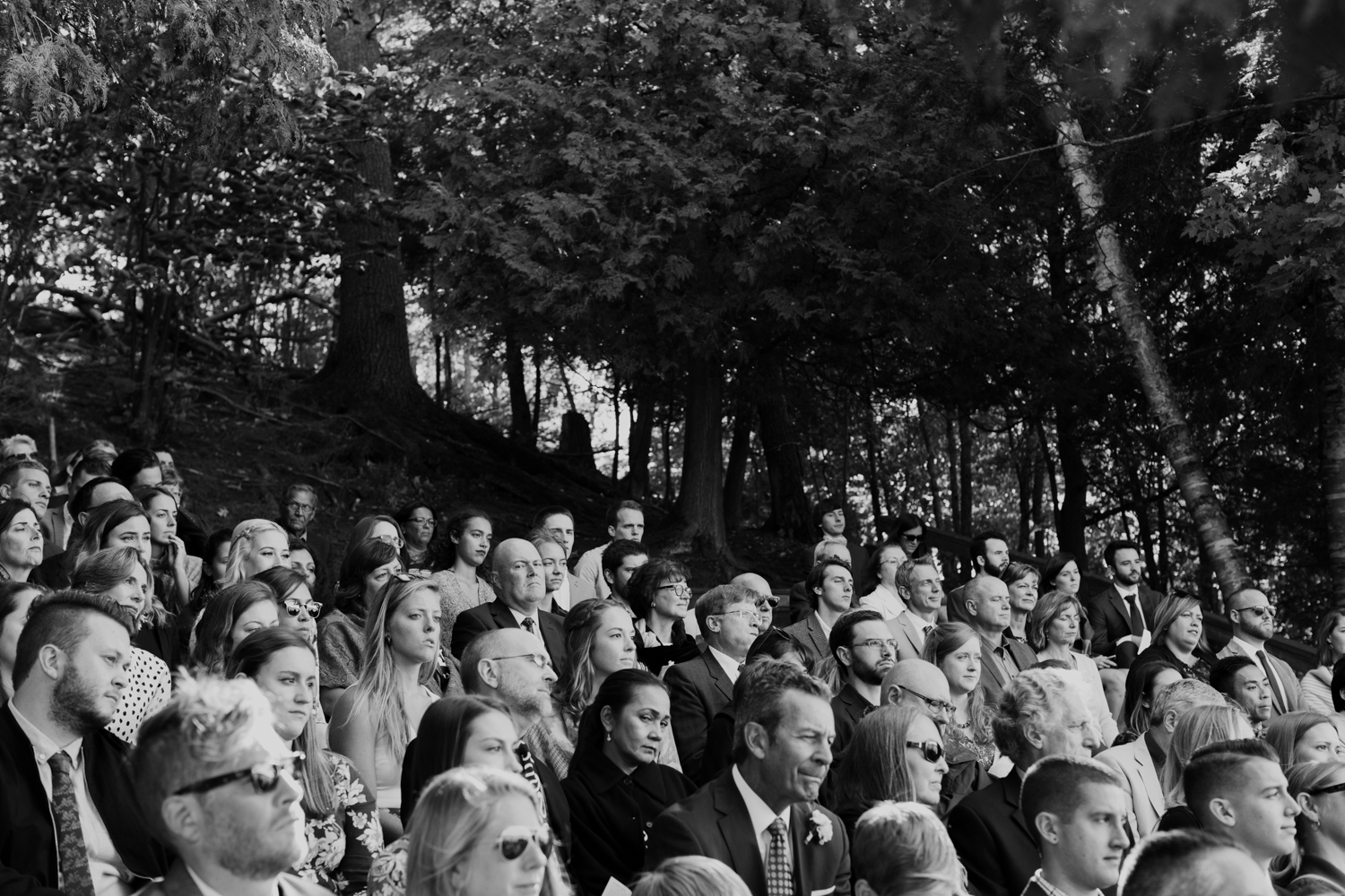 Wedding guests seating during ceremony. Huntsville photographer