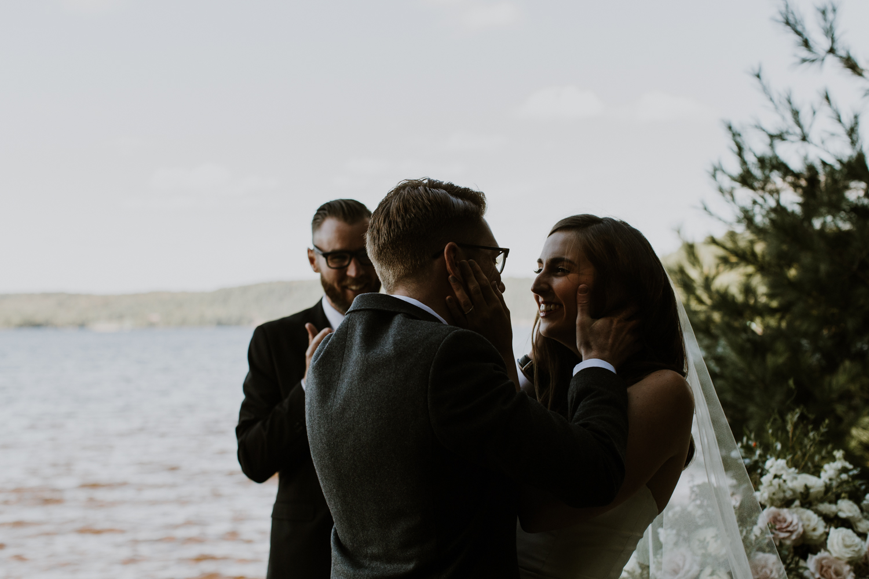 The first kiss. Muskoka Wedding