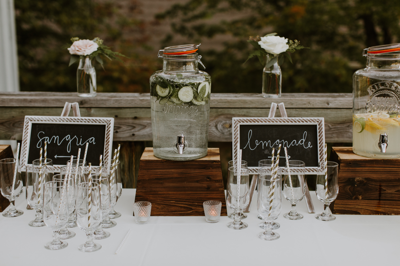 drink station at wedding reception