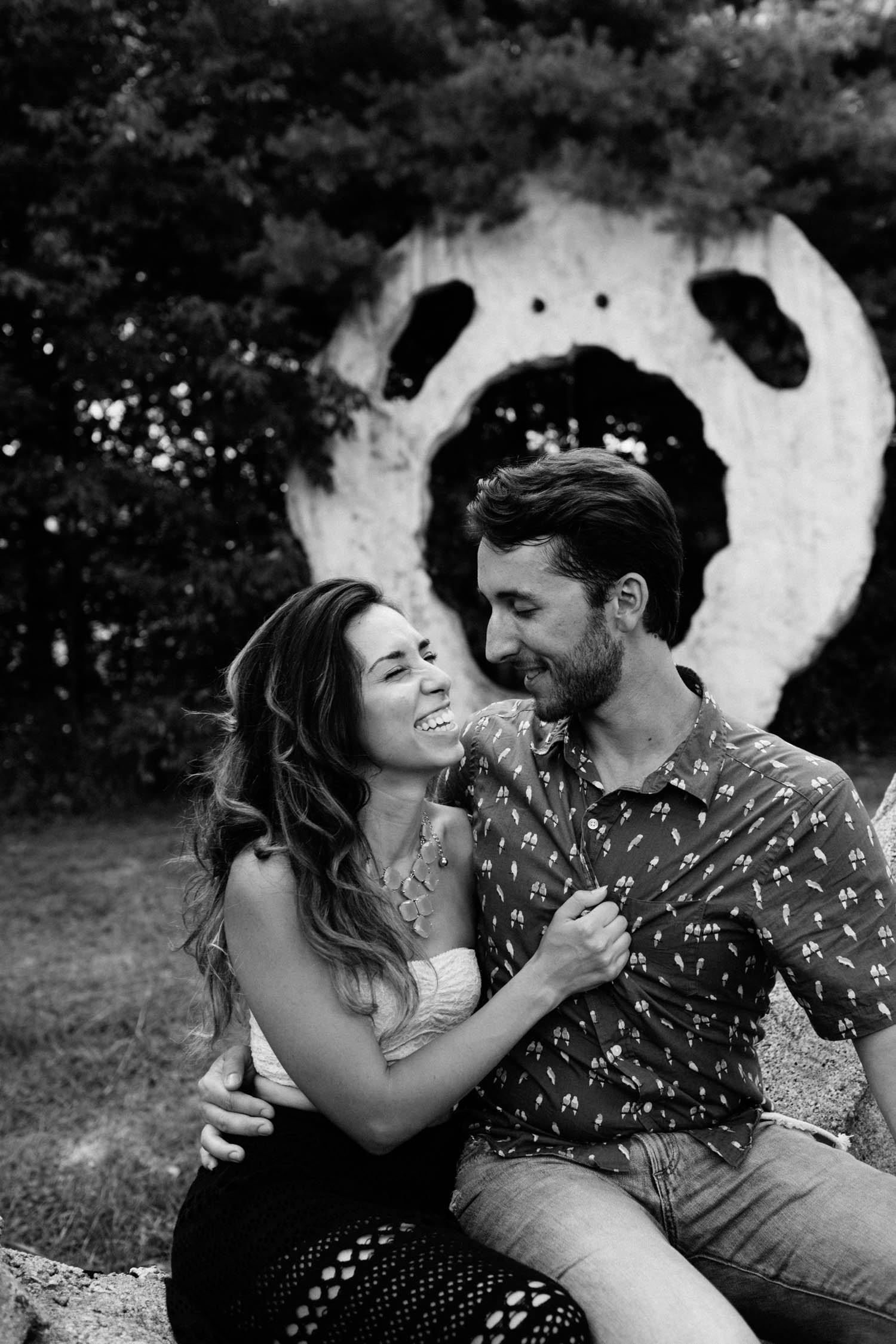 screaming heads laughing couple engaged
