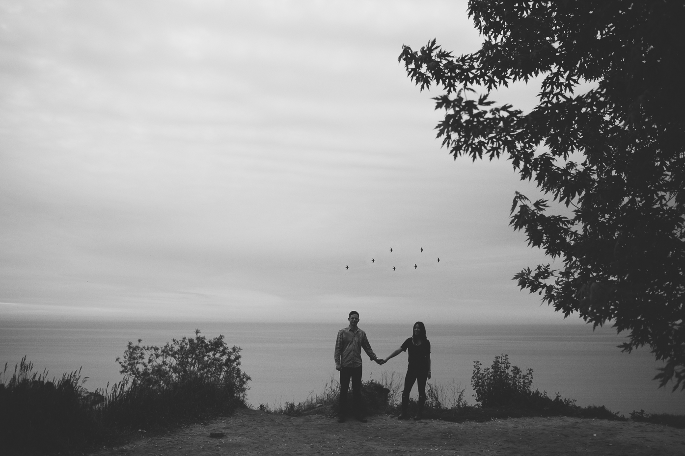 Engaged couple holding hands. Toronto Ontario