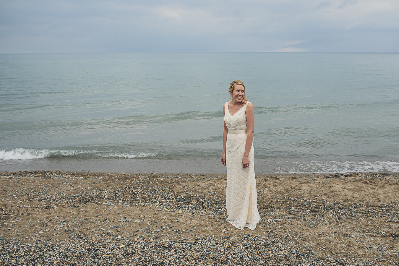 bride smiling on beach