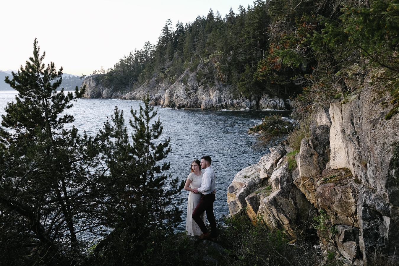 Pacific North West landscape with engaged couple
