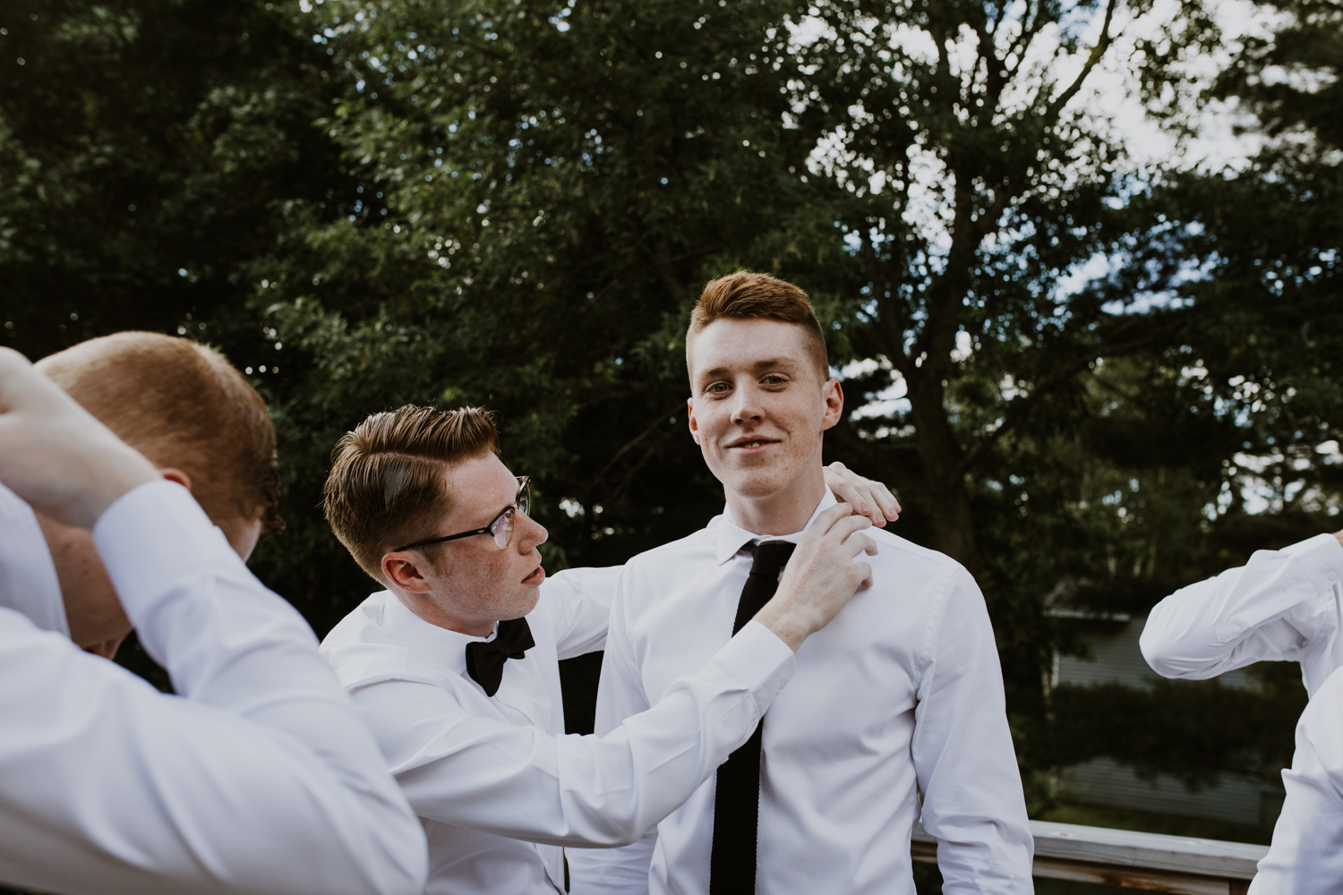 groomsmen getting ready in Muskoka