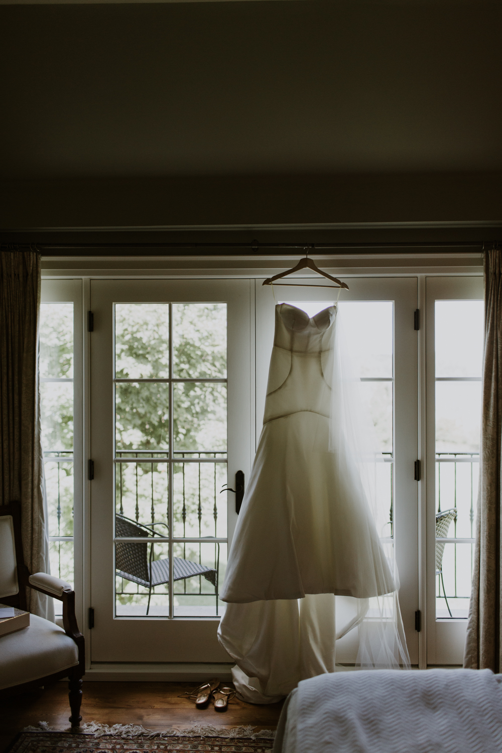 Dress hanging in window of Huntsville cottage