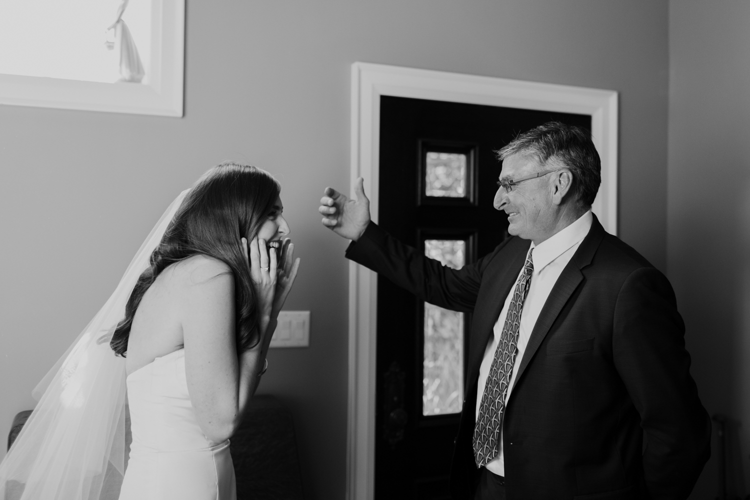 Bride greeting her father for the first time