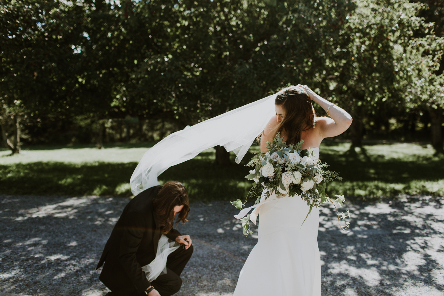 Windy veil, Muskoka Wedding