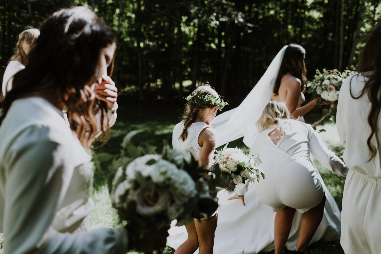 Bridal party. Huntsville Summer camp wedding photographer