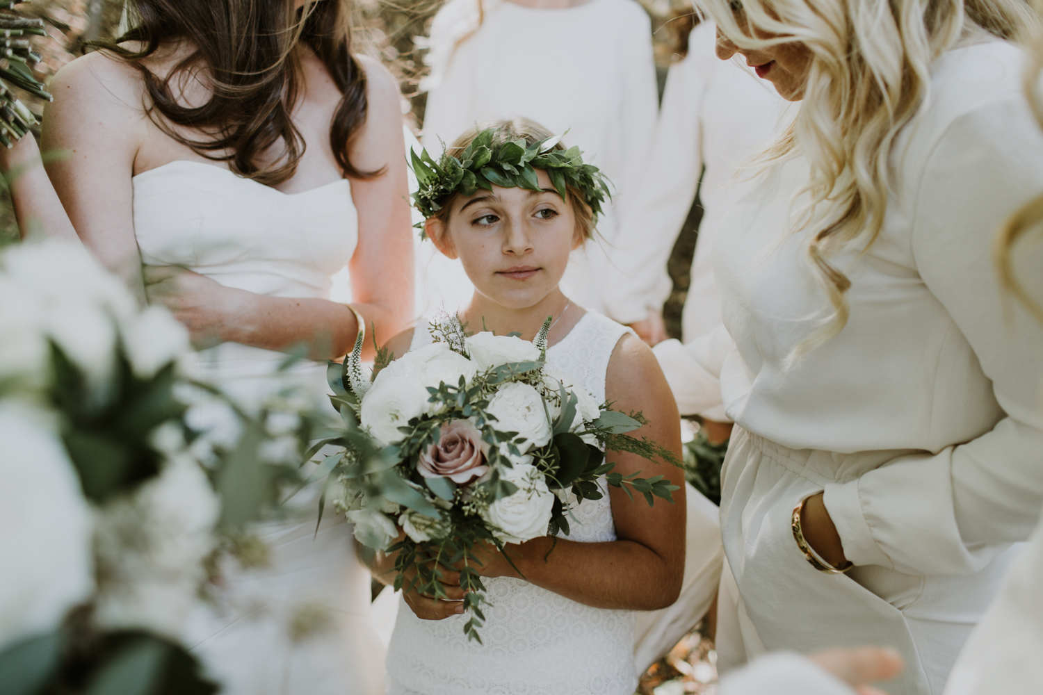 flower girl inspiration. Floral crown, white dress