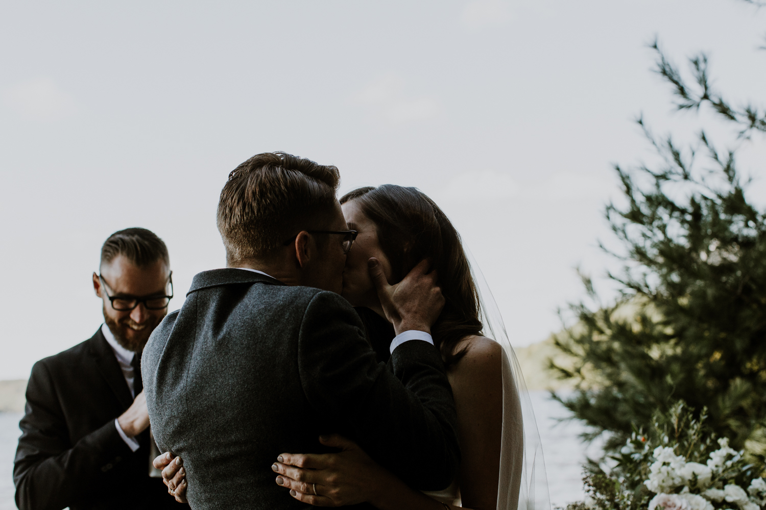 The first kiss. Muskoka Wedding