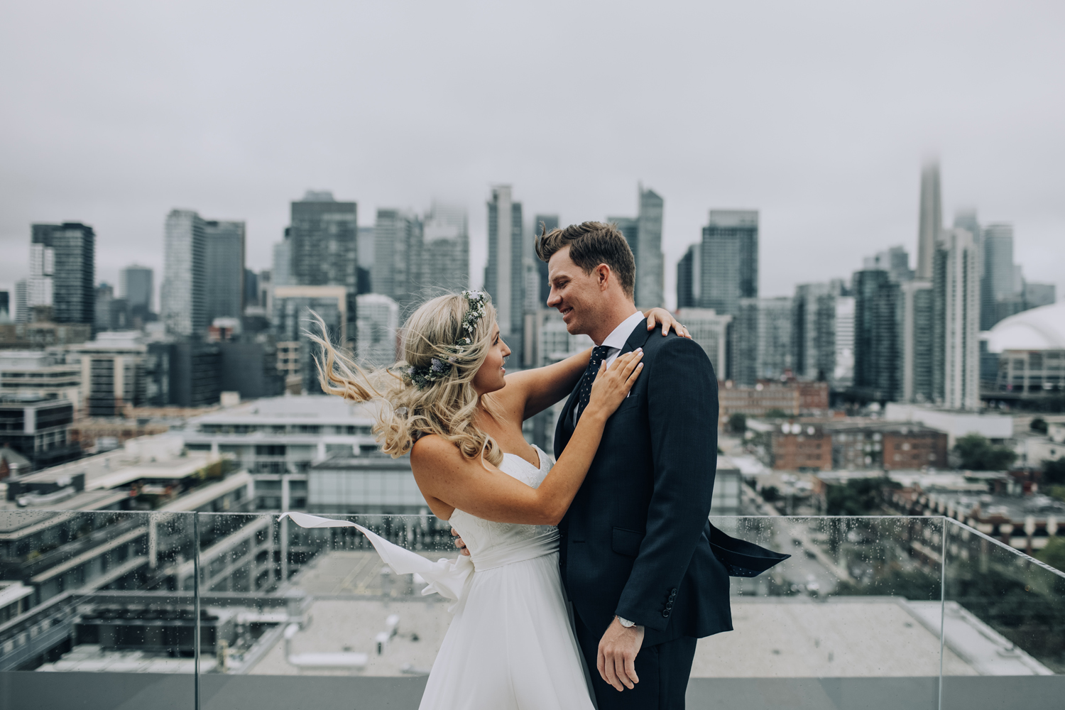 First look rooftop Toronto Thompson Hotel Wedding Photos